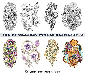 Eine Menge henna paisley mehndi Doodles Element.