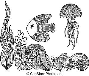 Eine Menge Meereslebensfisch