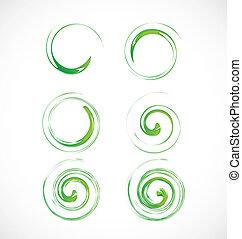 Eine Reihe grüner Wellen.