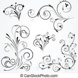 Eine Reihe von Blumenwirbeldesigns.
