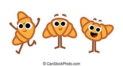 Eine Reihe von Croissants Zeichentrickfiguren. Fröhliche lustige Maskottchen für Bäckerei und Restaurants Menü. Einfach isolierte Vektorkunst. Bezaubernde Zeichendesign-Icons gesetzt.