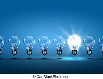 Eine Reihe von Glühbirnen
