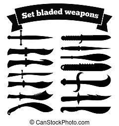 Eine Reihe von Silhouetten von Messern