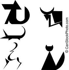 Eine Reihe von Tiersilhouetten