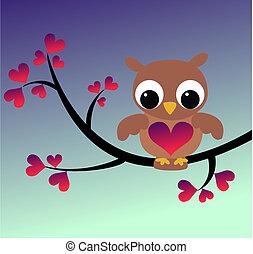 Eine süße Eule, die auf einem Zweig sitzt