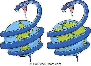 Eine Schlange auf der Welt.