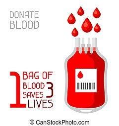 Eine Tüte Blut rettet 3 Leben. Medizinisches und Gesundheitskonzept