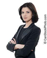 Eine wunderschöne, ernstzunehmende Geschäftsfrau mit Portrait-Armen im Studio, isoliert im weißen Hintergrund