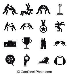 einfache abbilder, stil, ringen, greco-römer, satz