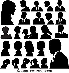 Einfache Silhouette-Porträte