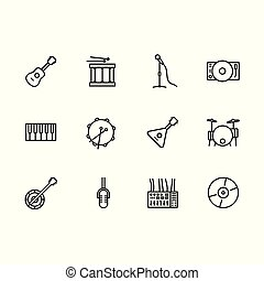 Einfaches Set Musikinstrument und Geräte Vektorlinie Icon. Enthält solche Icons musikalische Saiteninstrumente Gitarre und Balalaika, Trommel, Mikrofon, Klavier, CD Disk, DJ Mixer, Player.