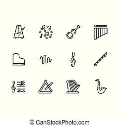 Einfaches Set Musikinstrument und Geräte Vektorlinie Icon. Enthält solche Ikonen Violine, Klavier, Harfe, Saxophon, Flöte, Metronom, Treble clef, Noten, Musik.