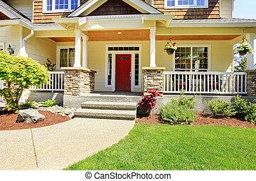 eingang, house., amerikanische , außen, front, nett
