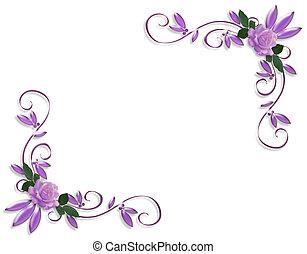 einladung, wedding, umrandungen, lavendel, rosen