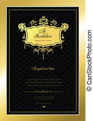Einladungsgoldkarte. Hochzeit oder V