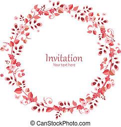Einladungskarte mit Blumenkranz für Ihr Design.