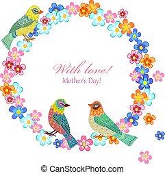 Einladungskarte mit Blumenkranz und Vögel für Ihr Design.
