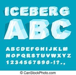 Eisberg-Schrift. Eis Alphabet. Briefe aus kaltem Eis. Frosty ABC. Blaue, transparente Buchstaben