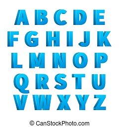Eisblaue 3d Buchstaben, Buchstaben, Alphabet, Buchstaben
