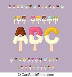 Eiscreme ABC. Eiszapfen-Alphabet. Kalte Süßigkeiten. Lebensmitteltypografie. Edle Briefe. Nachtischbrief