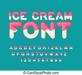 Eiscreme. Eiszapfen-Alphabet. Kalte Süßigkeiten ABC. Lebensmitteltypografie. Edle Briefe. Nachtischbrief