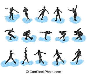 Eiskunstlauf-Grung-Silhouette