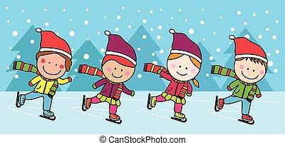Eislaufende Kinder.