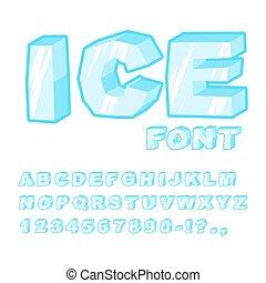 Eisschrift. Kalte Briefe. Transparentes blaues Alphabet. Frosty Alphabet. Gefrorene Briefe