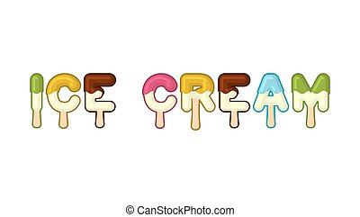 Eistypografie. Eiszapfen-Alphabet. Kalte Süßigkeiten. Lebensmitteltypografie. Edle Briefe. Nachtischbrief