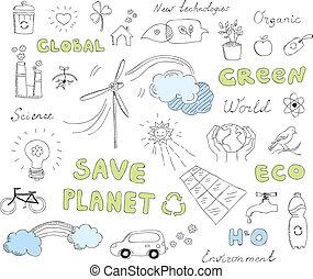 Ekologie-Doodles-Vektorelemente sind gesetzt