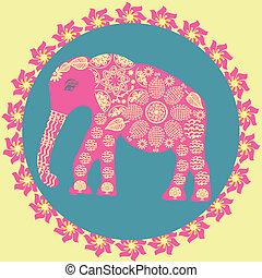 Elefant Hintergrund in alten Farben, Vektorgrafik.