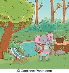 Elefant im Forstdesign vektorgrafik.
