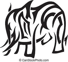 Elefant im Stammesstil - Vektor Illustration