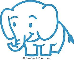 elefant, kinder, karikatur