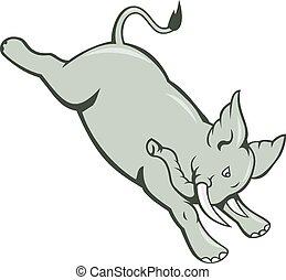 Elefant springt mit einem abgelegenen Comic.