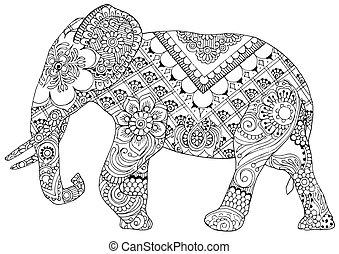 Elefanten mit indischen Mustern.