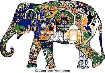 Elefanten mit indischen Symbolen.