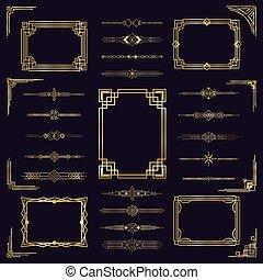 elegant, antikes , satz, heiligenbilder, deco, verzierung, freigestellt, gold, weinlese, kunst, frames., umrandungen, goldenes, dekorrahmen, modern, arabisches