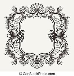 Elegante barocke ornate Kurven gravieren den Rahmen