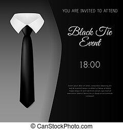 Elegante schwarze Krawatte Veranstaltung Einladung Vorlage