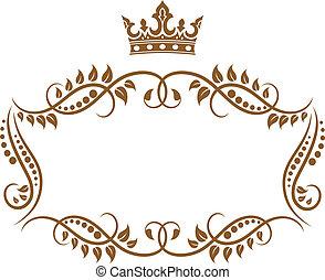 Eleganter, mittelalterlicher Rahmen mit Krone