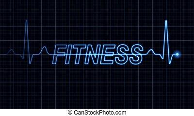 Elektrocardiogramm mit Fitness-Wort