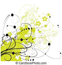 element, abstrakt, hintergrund, blumen-