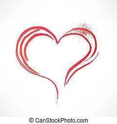 element., gemalt, design, heart., brush.