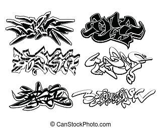 elemente, graffiti, satz