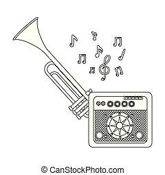 elemente, musik, karikatur
