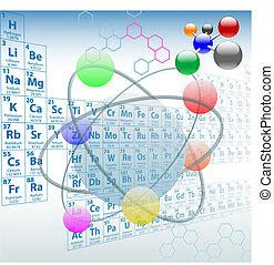 elemente, periodisch, design, atomar, tisch, chemie