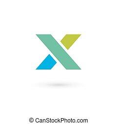 elemente, schablone, x, logo, ikone, brief, design