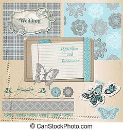 elemente, spitze, weinlese, -, vlinders, vektor, design, sammelalbum