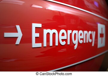 EMERGENCY SIGN in einem Krankenhaus.